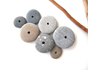 Stone Spacers Rock Cairn Center Drilled Rocks Diy Jewelry Mediterranean Natural Stone Beads Beach Stone Beads MISTY DONUTS 15-28 mm