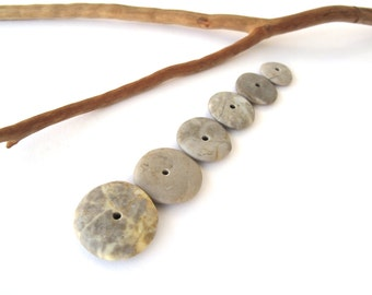 Natural Stone Cairn Mediterranean Beach Stone Stacks Pebble Rock Donut Beads River Stone Spacers BLACK WHEELS 13-20 mm