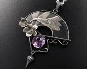 Violet motif Keum Boo relief fan silver pendant
