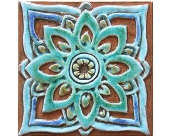 Handmade tile with mandala design // Ceramic tile // Wall tile // Wall art // Mandala #2 // 15cm // Turquoise