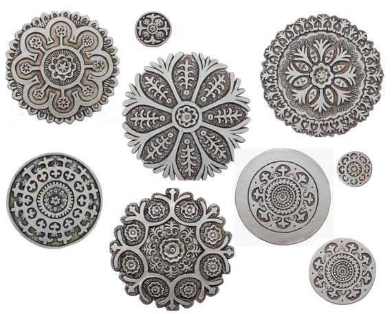 Circle Wall Art 9 circle wall art with suzani designs painted in aged silver