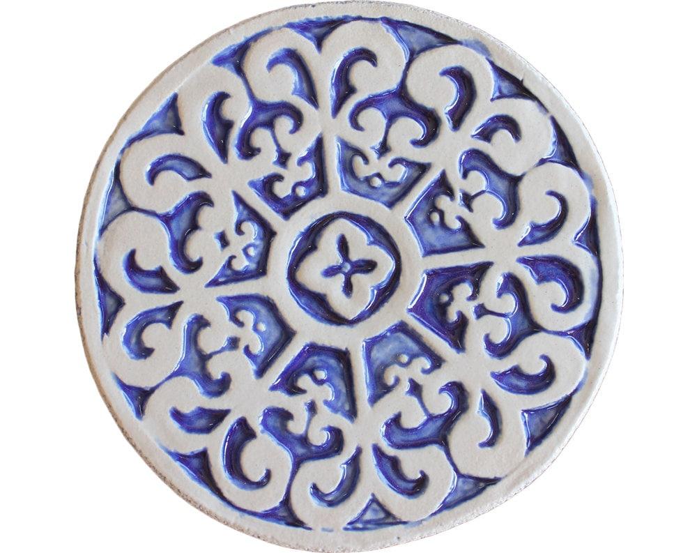 decorative tile hand painted with mandala design ceramic tile. Black Bedroom Furniture Sets. Home Design Ideas