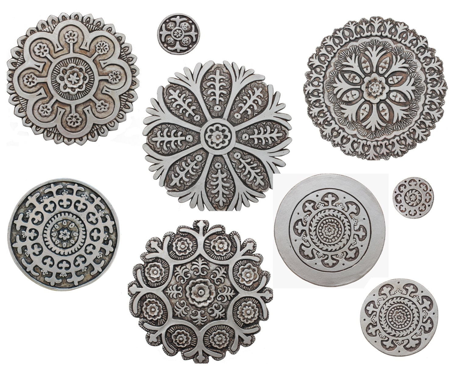 9 circle wall art with suzani designs painted in aged silver