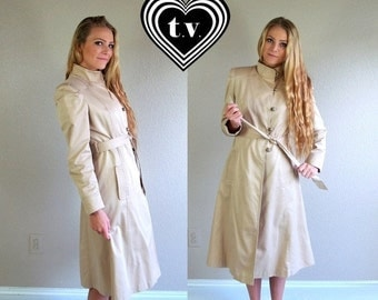 Sale vtg 80s BEIGE toggle buttons TRENCH COAT fitted Medium retro belted outerwear jacket princess