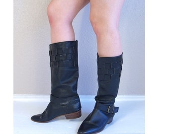 Half Off vtg 80s black TALL woven BUCKLE BOOTS 10 knee high flat riding pirate leather boho heels hippie