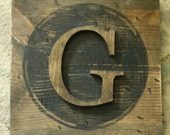 Large Block Typewriter letter G Natural Letter Wood decor G