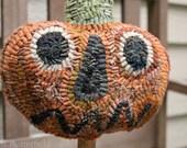Primitive Halloween Wool Hooked Rug Pumpkin Make Do on Old Wooden Bobbin