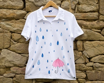 Raindrops and a Pink Umbrella T-Shirt in White, Size L Hand Painted Rain T-shirt