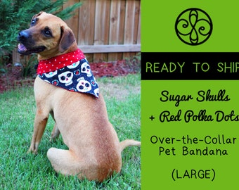 READY TO SHIP- Sugar Skulls & Red Polka Dots Reversible Pet Bandana (Large)