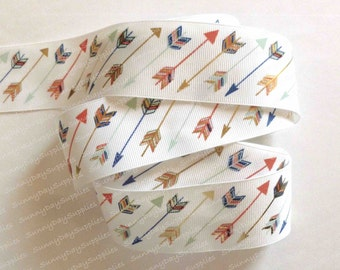 White Grosgran Ribbon with Arrows, 3 YARD ROLL ,  1.5  inches wide,  Arrows, Gold Foil Arrows, Red, Blue and Teal Arrows, Hunting Arrows
