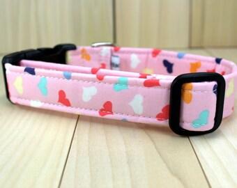 Valentines Dog Collar | Multi Colored Hearts Dog Collar | Girl Dog Collar | Pink Dog Collar | Made to Order