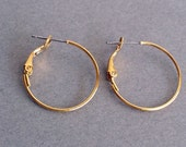 Earring, Goldplated brass, Gold Hoop Earring Finding, Gold-Plated Hoop, 25mm round hoop with latch-back closure