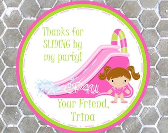 Girl Water Slide Favor Tags