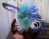 Doctor Who Fascinator (F513) - TARDIS Mini Hat - Blue Feathers - Silver Wings - Rosettes and Crystals