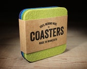 100% Merino Wool Felt Square Coasters - 5mm Thick German-milled Felt - Rich Lightfast Colors - Natural and Renewable - Blues and Greens