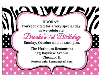 Pink Polka Dot Zebra Invitation Printable or Printed with FREE SHIPPING - Personalized for your Party