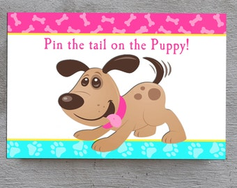 50% OFF SALE - Pin the Tail on the Puppy Dog Game Printable - Instant Download - Meow Sit Stay and Play Collection