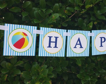 Beach Ball Pool Party Happy Birthday Banner Printable - Instant Download - Pool Boy Swim Collection