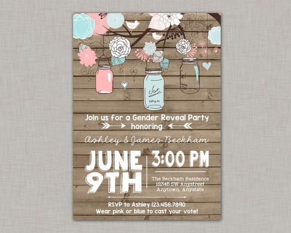 Gender Reveal Party Invitation Mason Jar Gender Reveal Invitation