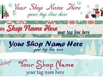 Large Etsy Facebook Cover Photo Ready Made Premade Cute Retro Vintage Winter Christmas Holiday Banner and Avatar  - You Pick One