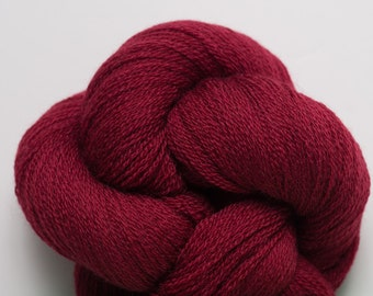 Red Merino Yarn, Garnet Red Recycled Merino Lace Weight Yarn, 2792 Yards Available