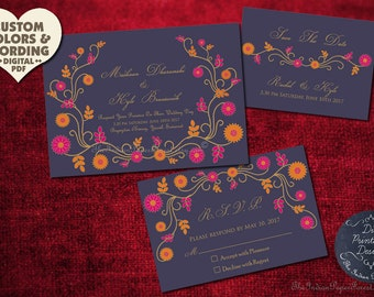 INDIAN SUMMER Wedding Invitation Set Suite Diy Printable Custom Design Save The Date Card Floral Elegant Rustic Boho Asian Unique 2018 Trend