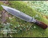 Kitchen damascus steel knife, handforged