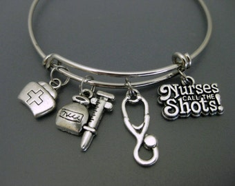 Nurse Bracelet / Nurses Call the Shots / Medical Assistant Bangle / Nursing Student / Charm Bracelet / Adjustable Expandable Bangle
