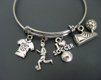 Soccer Bracelet / Soccer Bangle/ Soccer Mom Bracelet / Soccer Player / Soccer Coach Team / Soccer Fan Bracelet  / Adjustable Charm Bangle
