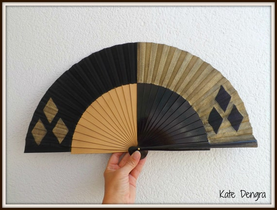 Harley Quinn, Steampunk, Hand Fan, Harleyquin, LARGE Hand Painted Wooden Folding Semi Pericon Hand Fan Black Gold by Kate Dengra Spain