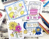 Coloring Postcard, basics coloring postcard set, handdrawn postcard