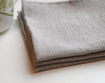 SALE. Linen napkin. Set of 10. Natural, softened linen. Grey.
