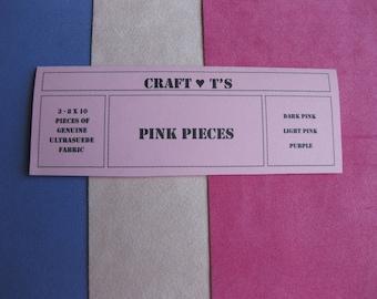 Ultrasuede Pink Package 3 - 8 x 10 Pieces, Purple, Light Pink, Dark Pink