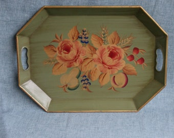 Vintage Tole Tray Toleware Tray Mid Century Hand Painted Flowers 18x13