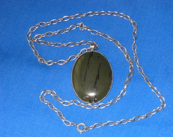 Vintage Large Chunky Spinach Green Jade Stone & Sterling Silver Pendant and Necklace Signed