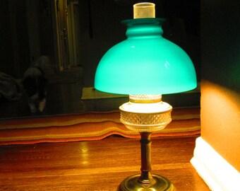 Gorgeous Banker Hurricane Lamp / 1940s Green Shade Brass Desk Lamp / Works Great