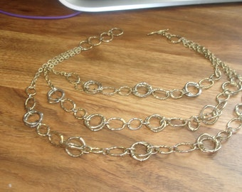 vintage necklace silvertone goldtone links chain triple strand