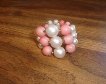 vintage bracelet pink white lucite wired wrap around