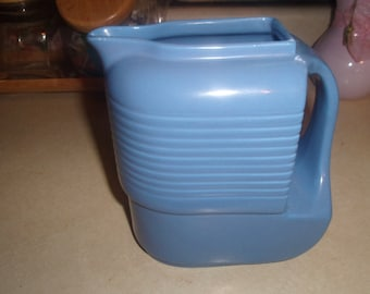 vintage westinghouse hall china company blue refrigerator water pitcher