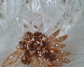 Vintage Signed Eisenberg Topaz Brooch-Gorgeous Topaz and Clear Rhinestones on Gold-November Birthstone