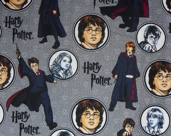 Harry Potter Fabric, Harry, Hermoine, Ron Fabric, Harry Potter Badges, Characters Fabric, JK Rowlings, By the Yard