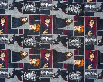 Harry Potter Fabric / Harry, Hermoine, Ron  / Harry Potter Characters Collage / Gryffinder Emblem /  By the Yard