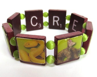 Reptile Themed Scrabble Tile Wooden Bracelet, with Images of Lizards, Frogs and Snakes, Rare Red-Wood Tiles, Green Beads