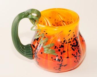 Glass Blown Pumpkin Mug