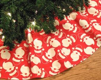 """Santa Claus Christmas Tree Skirt, Red and White Christmas Decor, Retro Tree Skirt, Santa Decoration, 42"""" Diameter Xmas Tree Skirt"""