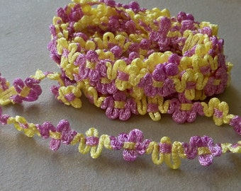 Flower Trim-Lavender & Yellow-13mm-3 YDS