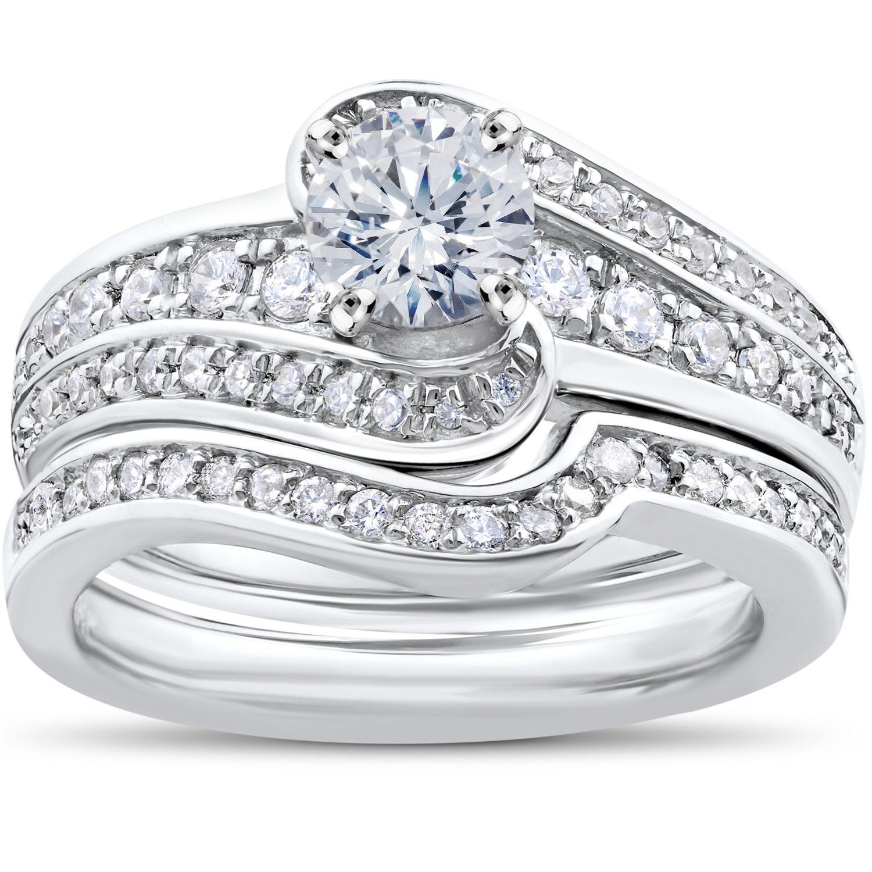 3 4ct Diamond Pave Twist Round Engagement Ring 14K White Gold
