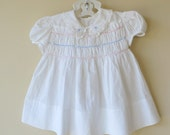 Baby Dress White Cotton Pink Blue Smocking 18 - 24 Months 808a