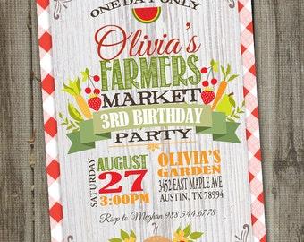 Vintage Farmers Market Birthday Invitation, PRINTABLE, Digital Farm Fresh Party, Farmers Market Birthday, Farmers Market Party