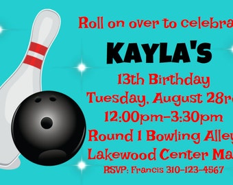 Bowling Alley PDF Printable Party Invite Invitation 4x6- Bowling Party